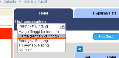 Urutkan Harga Hotel